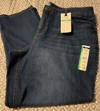 Women's terra e cielo Gamba Dritta Medio Lavare Jeans controllo della pancia-Taglia 22W Petite