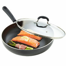 VonShef 28cm Non-Stick Aluminium Induction Frying Sauté Pan & Glass Lid
