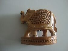 Antique Hand Carved Wood Figurine Pregnant Elephant