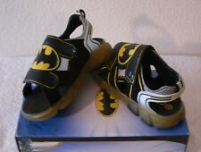 NIB DC Comics Batman Begins Toddler Boys Light-Up Sandals 11 Black/Yellow $35