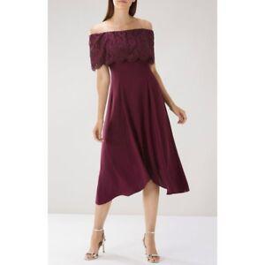 BEAUTIFUL WOMANS COAST ORIEL LACE BARDOT DRESS REGULARL/PLUS MERLOT RED 8/26