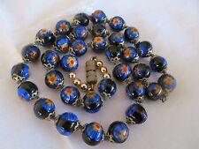 """Vtg COBALT/BLACK FLOWER Venetian Millefiori Murano Glass Beads NECKLACE 17"""""""