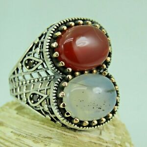 Turkish Handmade Jewelry 925 Sterling Silver Agate Stone Men Ring Sz 11