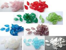 11 (mm) CZECH GLASS LEAF DROP BEADS FOR JEWELLERY MAKING - 10 COLOURS - (40pcs)