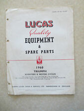1960 Lucas illustrated equipment booklet for Triumph motorcycles and scooters