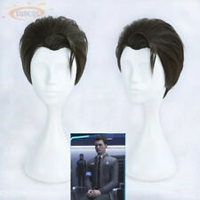 Detroit Become Human Connor Dark Brown Anime Cosplay costume perruque+Wig CAP
