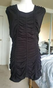KENNETH COLE sleeveless black ruched top stretch viscose size M