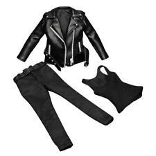 1/6 Black Leather Coat Pants for ZC TTL Female Action Figure Outfit Clothes