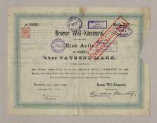 BREMER WOLL-KÄMMEREI - Gründer-Aktie über 1.000 Mark - BREMEN, 1. März 1885