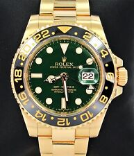 Rolex GMT Master II 116718 18k Yellow Gold Green Dial Ceramic Bezel NO RESERVE