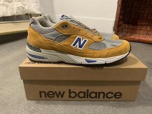 """New Balance 991 """"Made In England"""" Yellow/Blue - """"Curry"""" - Mens Size 11.5 - NEW"""