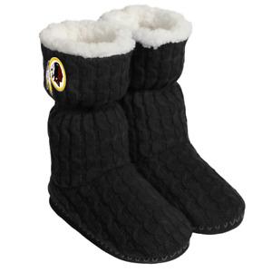 Washington Redskins NFL Women's Black Bootie Slippers, Size XL (11/12) - NWT