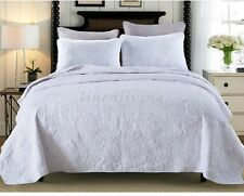 Reversible Quilted Cotton Patchwork Coverlet Bedspread 3pc Set King / Super King