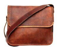 Women's Vintage Brown Leather Messenger Half Flap Cross Body Purse Handmade Bag