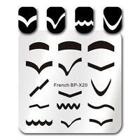 BORN PRETTY Square Nagel Stempel Schablone French Tips Design Stamping Plate