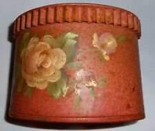 VINTAGE METAL CONTAINER With Toile Painting- Made in USA