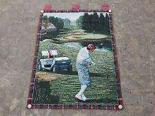 Vintage French Beautiful Golf Scene Tapestry 64x89cm A1003