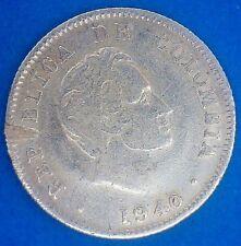 Moneda de plata de 10 centavos de Colombia 1940