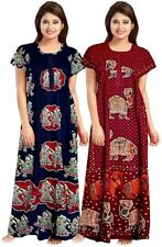Indian Womens Free Size Printed Cotton Nighty Gown Dress for Women Blue & RED