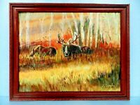 "M.JANE DOYLE SIGNED ORIG.ART OIL/CANV. PAINTING ""MARTHA & MAX""(MOOSE IN WILD)FR."