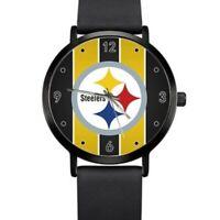 NFL Pittsburgh Steelers Watch Unisex Faux Black Leather Strap Gun Metal
