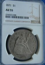 """*VERY STUNNING 1871 SEATED LIBERTY DOLLAR """"SUPER COLOR"""" AU-55 NGC*"""