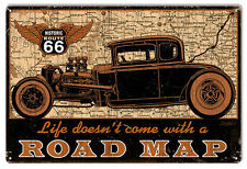 Route 66 Road Map Hot Rod Car Sign Garage Art 12×18