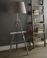 Vintage Modern Grey Wooden Tripod Old Style Nautical Floor Lamp