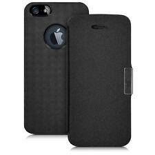 kwmobile Flip Cover Case für Apple iPhone SE 5 5S Schwarz Silber Schutz Hülle