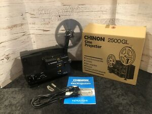 Chinon 2500GL Dual Super 8 Regular 8mm Cine Projector Complete w/Papers, Box, NR