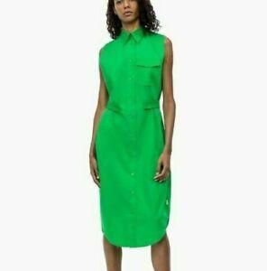 Calvin Klein Green Long Midi Sleeveless Casual Belted Shirt Dress UK 10 EUR 38