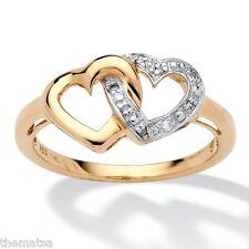 WOMENS 18 K GOLD HEART PROMISE ENGAGEMENT WEDDING DIAMOND RING 6 7 8 9 10