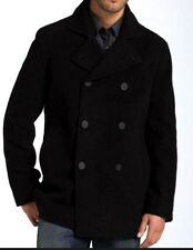 New Mens Kenneth Cole Wool Blend Coat Double Breasted Peacoat Large