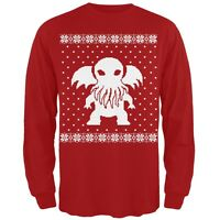 Big Cthulhu Ugly Lovecraft Christmas Sweater Red Adult Long Sleeve T-Shirt