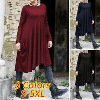 UK Women Oversized Tunic Jumper Dress Ladies Pullover Comfy Long Kaftan Top 8-26