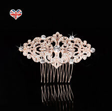 BELLE Rose Gold Bridal Hair Comb, Rhinestone, Vintage Art Deco, Crystal Diamante