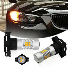 2x Front Turn Signal Lights Error Free Amber PY24W 21SMD LED Bulbs For BMW