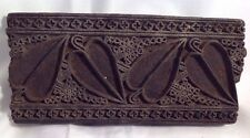 "Antique INDIA Wooden Textile Fabric Print Block Stamp Batik Sari Hand Carved 7""L"