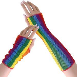 80s Rainbow Stripes Fishnet Fingerless Gloves / Arm Warmer