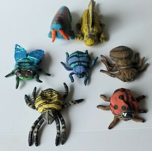 Lot of 7 Applause Determined Productions Mini Insect Dinosaur Walrus Plush 1993