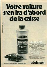 Publicité Ancienne Produits pour Voiture JON-WAX JOHNSON 1970   P. 31