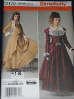 Victorian Steampunk Costume Misses Size 6-12 Simplicity 2172 Sewing Pattern