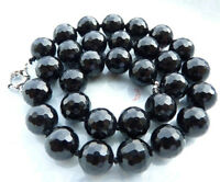 "Faceted 10mm Black Agate Onyx Round Gemstone Beads Necklace 18"" AA"