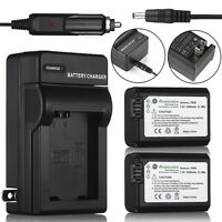 2x NP-FW50 Battery +Charger For Sony NEX-7 NEX-6 NEX-5N NEX-3N A3000 A5000 A7R