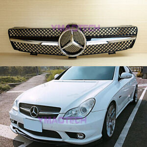 Gloss Black Chrome Star Front Grille For Mercedes-Benz W219 2005-2007 CLS CLASS