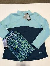 Nwt Under Armour Girls 2 Set 1/4 Zip Sweatshirt Cold Gear Capri Blue Size Yl Yxl