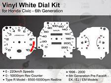 Honda Civic 6th Gen EK (1996 - 2000) - 220kmh Type R - Vinyl White Dial Kit