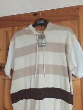 """New Mens Grey Striped Hoodie brown Top By Reed Denim Small Size. Chest 42"""""""