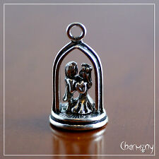 Wedding Cake Topper charm ~3D bride groom arch Tibetan antique silver pendant