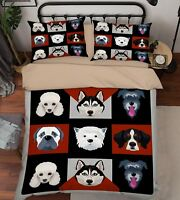 3D Dogs Pattern Bed Pillowcases Quilt Duvet Cover Set Single Queen King Size AU